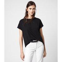 AllSaints Women's Cotton Lightweight Imogen Boy T-Shirt, Black, Size: M/L