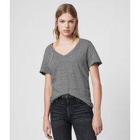 AllSaints Mia Linen Blend Stripe T-Shirte