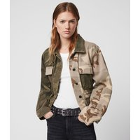 AllSaints Women's Cotton Camouflage Relaxed Fit Finch Camo Jacket, Green, Size: XS