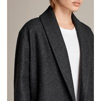 AllSaints Women's Wool Relaxed Fit Grace Ruffle Coat, Grey, Size: S