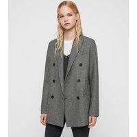 AllSaints Women's Wool Regular Fit Astrid Puppytooth Blazer, Black and White, Size: 14