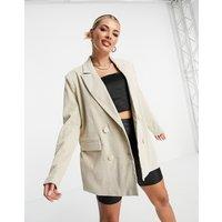 4th & Reckless oversized cord blazer in cream-White
