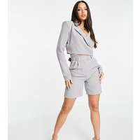 4th & Reckless Tall cropped wrap around blazer in grey