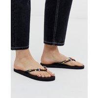 Accessorize black flip flops with neon beaded trim-Multi
