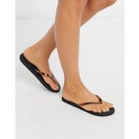 Accessorize Eva tortoisehell thong flip flops in black