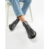 Accessorize flat leather chelsea boot-Black