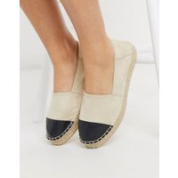 Accessorize flat toe cap espadrilles in beige and black-Multi
