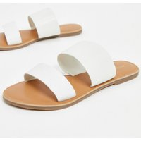 Accessorize leather two part flat sandals in white