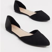 Accessorize pointed two part flat shoes in black