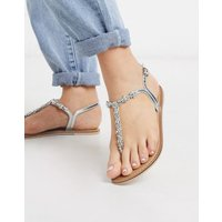 Accessorize Reno embellished rhinestone t-bar flat sandals in silver