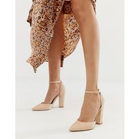 ALDO Nicholes block heeled court shoes with ankle strap in beige-Pink