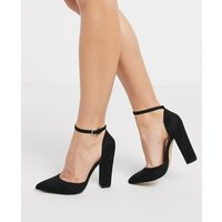 ALDO Nicholes block heeled court shoes with ankle strap in black