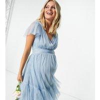Anaya With Love Maternity Bridesmaid tulle flutter sleeve ruffle hem midi dress in soft blue