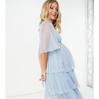Anaya With Love Maternity flutter sleeve midi dress in pale blue-Pink