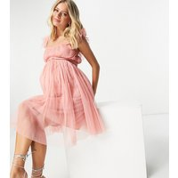 Anaya with Love Maternity flutter sleeve mini dress in coral tulle-Pink