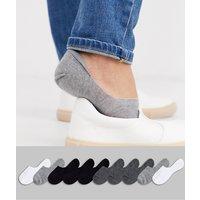 ASOS DESIGN 10 pack invisible liner sock in monochrome save-Multi