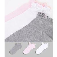 ASOS DESIGN 3 pack frill top trainer socks in multi