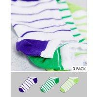 ASOS DESIGN 3 pack striped trainer socks-Multi