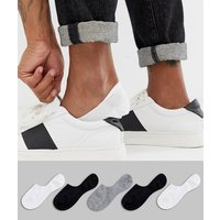 ASOS DESIGN 5 pack invisible liner sock in monochrome save-Multi