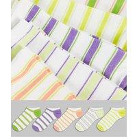 ASOS DESIGN 5 pack summer stripe 5 pack trainer socks-Multi