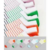 ASOS DESIGN 5 pack summer stripe trainer socks-White