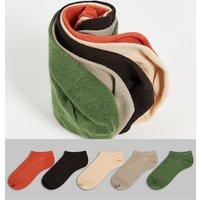 ASOS DESIGN 5 pack summer trainer socks in natural tones-Multi