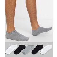 ASOS DESIGN 5 pack trainer sock in monochrome save-Multi