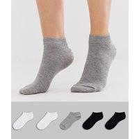 ASOS DESIGN 5 pack trainer socks-Multi