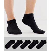 ASOS DESIGN 5 pack trainer socks-Black