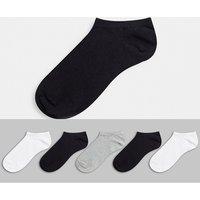ASOS DESIGN 5 pack trainer socks in monochrome save-Multi