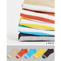 ASOS DESIGN 5 pack trainer socks with sports stripes in autumn tones-Multi