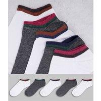 ASOS DESIGN 5 pack white and grey marl trainer socks-Multi