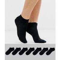 ASOS DESIGN 7 pack trainer socks-Black