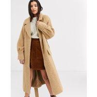 ASOS DESIGN brushed belted coat in camel-Neutral