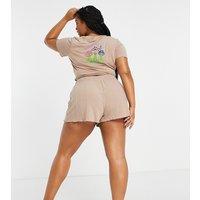 ASOS DESIGN Curve exclusive mushroom jersey top & rib short pyjama set in brown