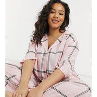ASOS DESIGN Curve mix & match check drop shoulder pyjama shirt in pink