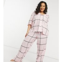 ASOS DESIGN Curve mix & match check straight leg pyjama trouser with jacquard waistband in pink