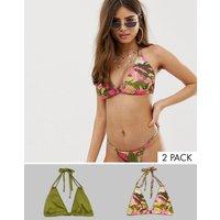 ASOS DESIGN fuller bust multi pack triangle bikini top in khaki and pink camo print dd-g