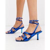 ASOS DESIGN Harley strappy toe loop mid-heeled sandals in blue metallic