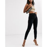 ASOS DESIGN high rise ridley 'skinny' jeans in clean black with ripped knees