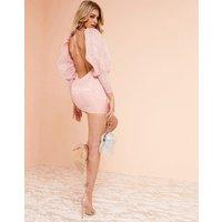ASOS DESIGN Luxe milkmaid mini dress in jacquard print-Pink