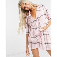 ASOS DESIGN mix & match check drop shoulder pyjama shirt in pink