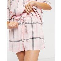 ASOS DESIGN mix & match check pyjama short with jacquard waistband in pink