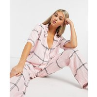 ASOS DESIGN mix & match check straight leg pyjama trouser with jacquard waistband in pink