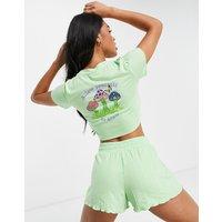 ASOS DESIGN mushroom jersey top & rib short pyjama set in mint-Green