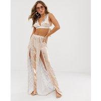 ASOS DESIGN split front beach trousers in metallic foil reptile co-ord-Multi