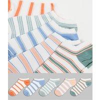 ASOS DESIGN striped pastel trainer socks 5 pack-Multi