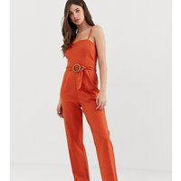 ASOS DESIGN tall strappy pinny belted jumpsuit-Orange
