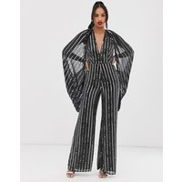 ASOS EDITION cape sleeve jumpsuit in sequin stripe-Black