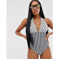 ASOS fuller bust exclusive v front swimsuit in mixed mono stripe print-Multi